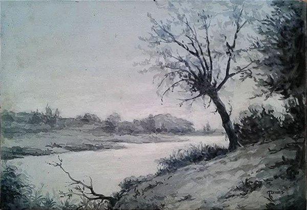 Diógenes Campos Ayres - Quadro, Arte em Desenho, Assinado, Nanquim, Paisagem