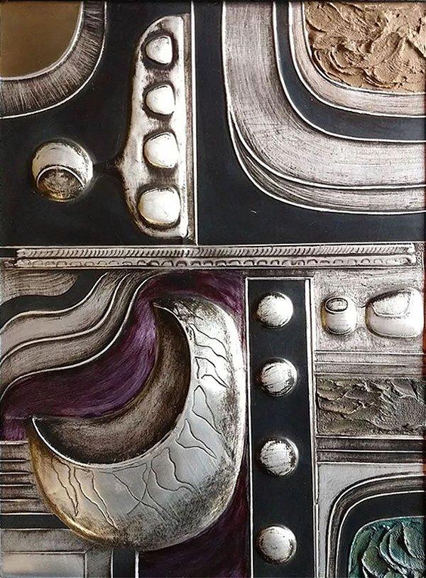 M. Gallardo - Quadro, Arte em Alumínio, Forte Relevo, Policromado