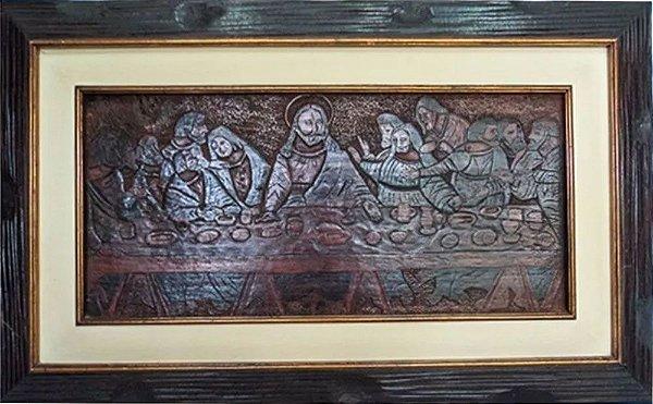 Quadro - Santa Ceia, Arte em Madeira Ricamente Entalhada