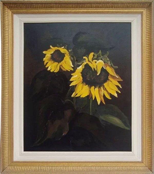 Quadro - Arte em Pintura, Óleo S/ Tela Original, Assinado, Temática Floral, Girassol