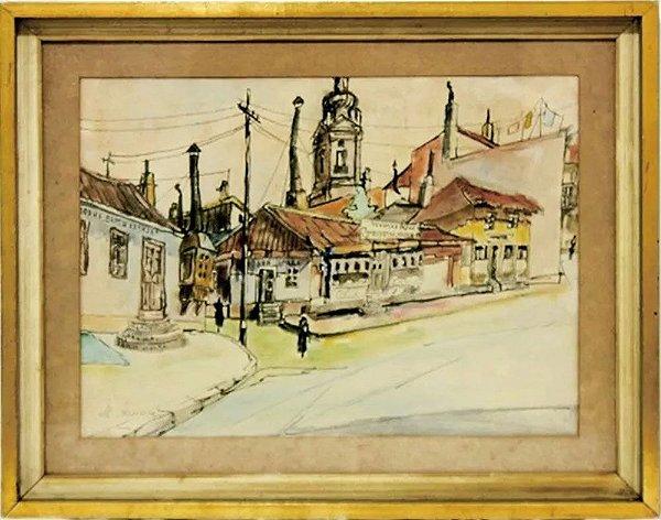 M. Thomaz - Quadro, Arte em Pintura Aquarela, Assinada, Povoado, Rússia, Igreja Ortodoxa