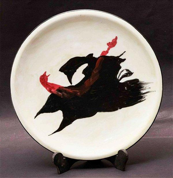 Manabu Mabe - Prato Em Porcelana Pintado A Mão P/ Galeria Barcinski
