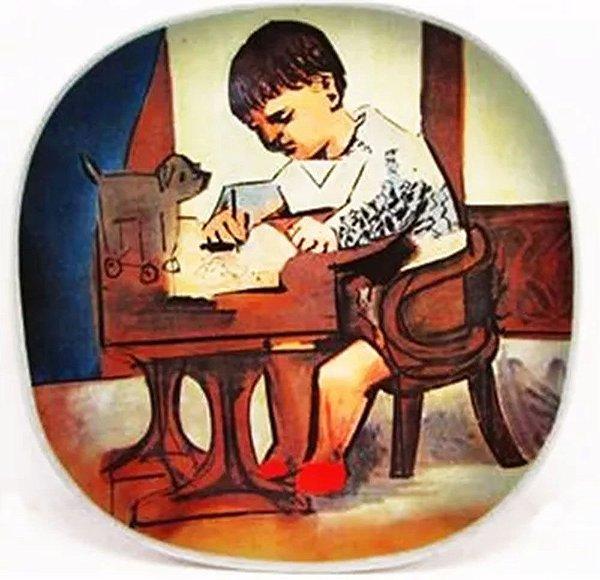 Pablo Picasso - Prato Decorativo em Cerâmica, Obra Paul Sketching de 1923, Edição Limitada
