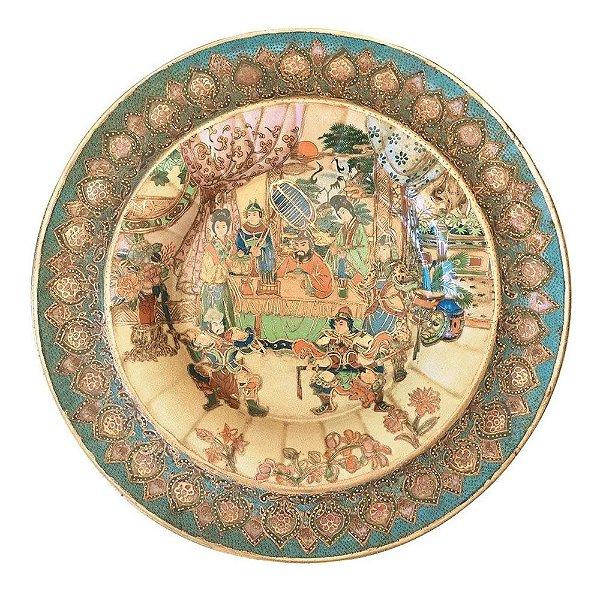 Grande Prato Decorativo - Medalhão em Porcelana Chinesa, Padrão Japonês, Satsuma Imperial, 37cm
