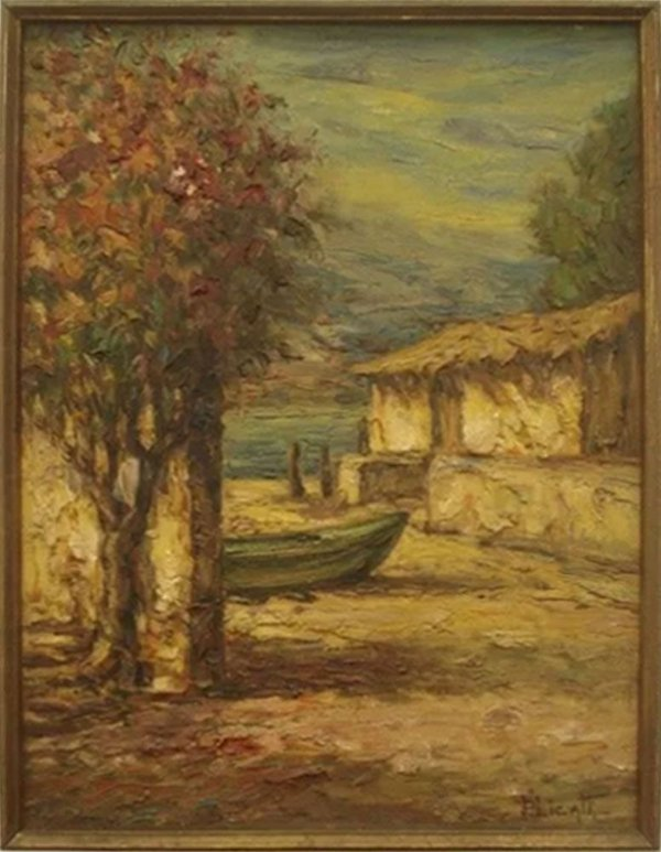 José Paulo Licatti - Quadro, Arte em Pintura Acrílica, Assinado, Ponto de Pescaria no Litoral