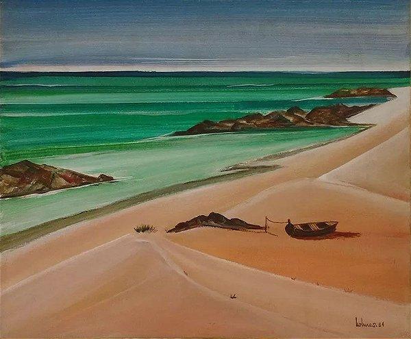 Holmes Neves - Quadro, Arte em Pintura, Óleo S/ Tela, Assinado, Porto Seguro, de 1984