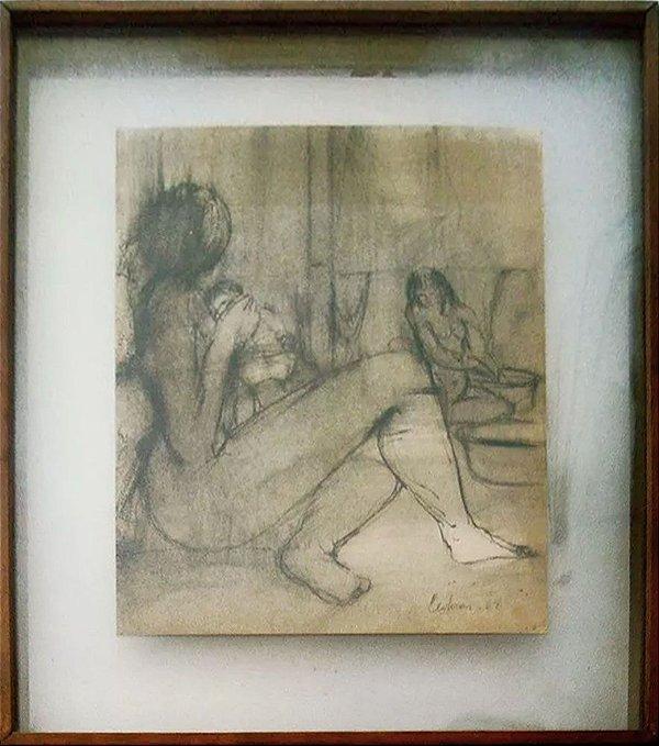 Alberto Cedrón - Quadro, Arte em Desenho, Assinado e Emoldurado