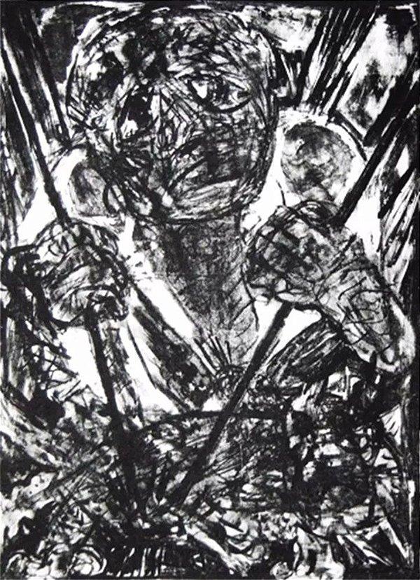 Marina Caran -  Arte em Gravura, Litogravura Original Assinada, Bahia, Datada de 1959