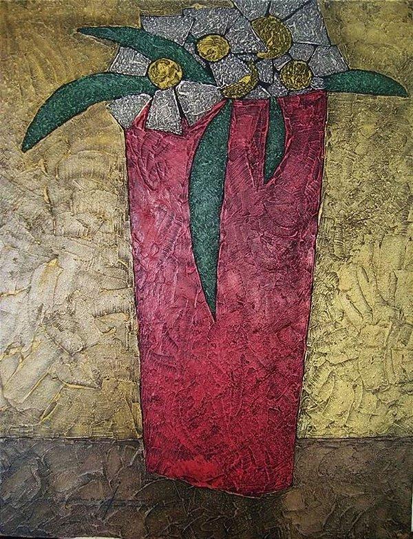 Lima Júnior - Quadro, Arte em Pintura, Assinado, Óleo sobre Tela Texturizado, Vaso com Flores