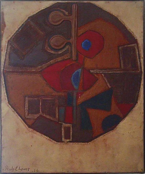 Paulo Chaves - Quadro, Arte em Pintura, Técnica Mista, Paisagem Interior II, de 1966