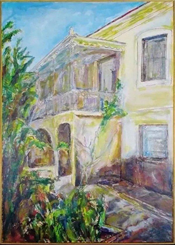 Jesuino Leite Ribeiro - Quadro, Arte em Pintura Original, Óleo S/ Tela, Varanda, de 1991 - 118mt x 83cm