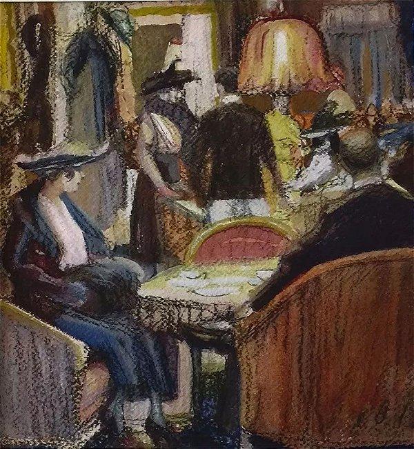 Lesser Ury  - Quadro, Arte em Pintura, Técnica Mista, Pastel e Aquarela, Série Cafés