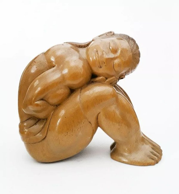 Escultura em Madeira Entalhada, Figurativo Feminino,  Índia