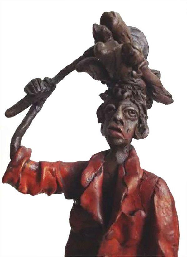 Escultura em Chapa de Cobre com Resina, Arte Popular, Homem e Cachorro