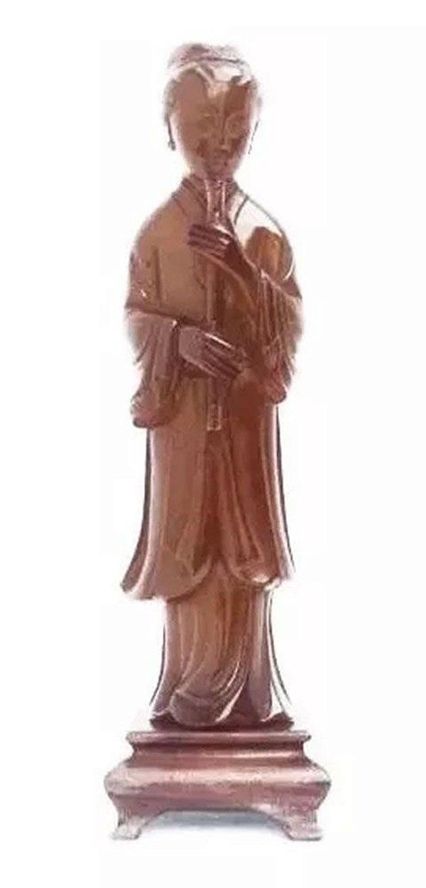 Escultura Chinesa em Resina  Âmbar, Imagem de Flautista