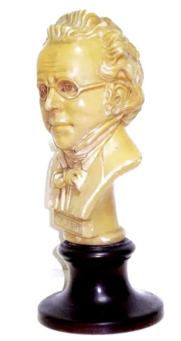 Escultura Antiga do Busto de Schubert, Etiqueta Original
