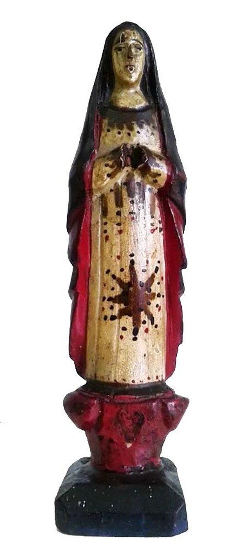 Antiga Escultura Policromada em Madeira, Imagem Religiosa, Santa