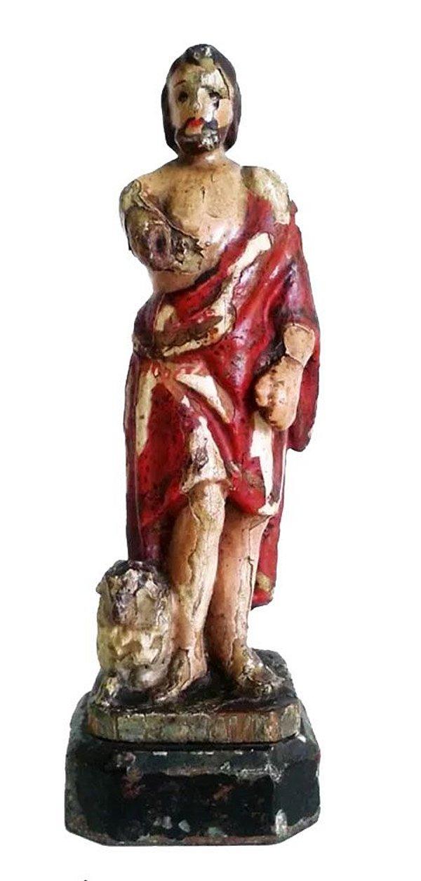 Arte Sacra, Antiga Escultura Policromada em Madeira, Imagem de São João Batista