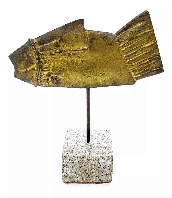 R. Saboya - Escultura em Bronze, Figura de Peixe