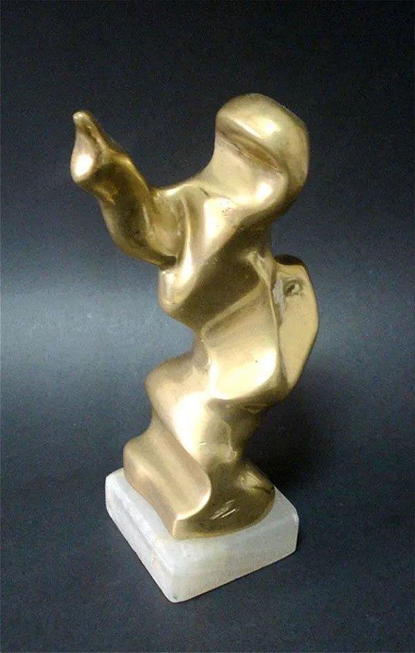 Spalletti - Escultura Abstrata em Bronze Polido, Assinada