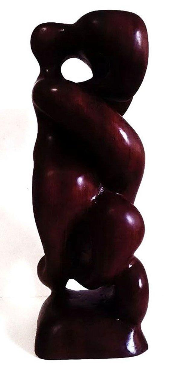 João Chetto - Escultura em Madeira Lavrada, Assinada, Representação de Casal
