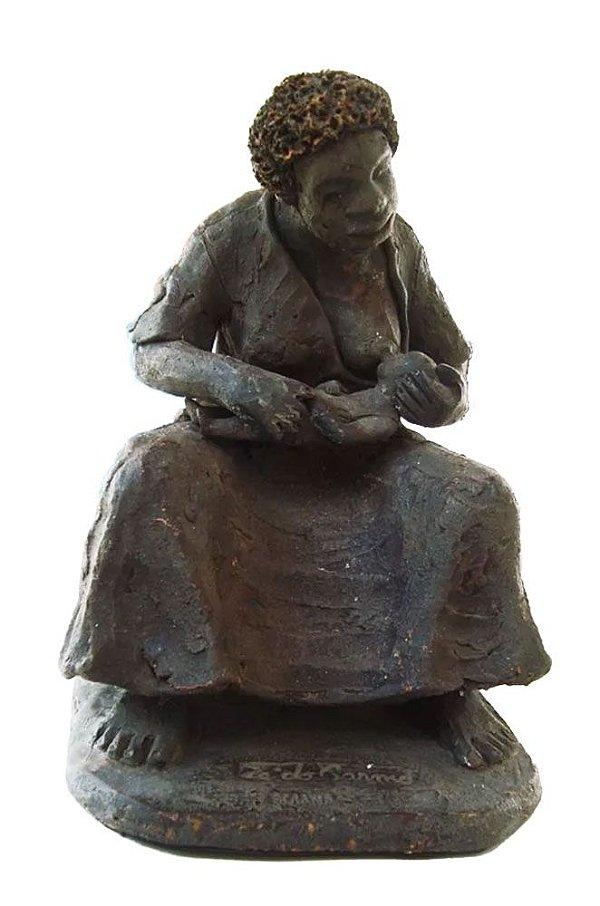 Zé do Carmo - Mãe Preta, Grande Escultura em Barro Assinada