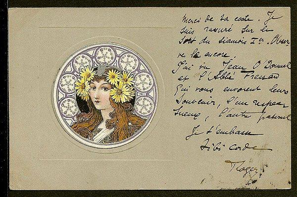 Cartão Postal Antigo Original, Ilustração Art Nouveau do Início do XX, Circulado em 1902