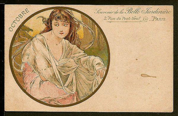 Cartão Postal Antigo Original, Alphonse Mucha , Ilustração Art Nouveau do Início do XX