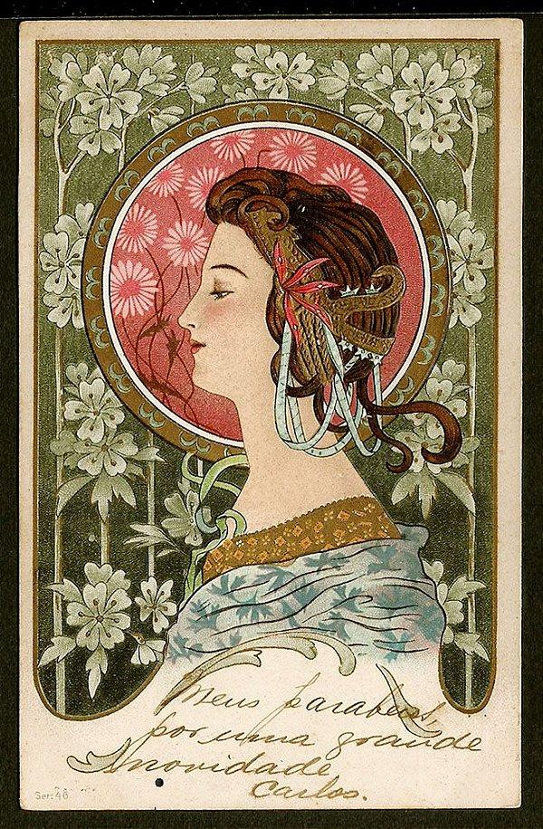 Cartão Postal Antigo Original, Ilustração Art Nouveau do Início do XX, Circulado