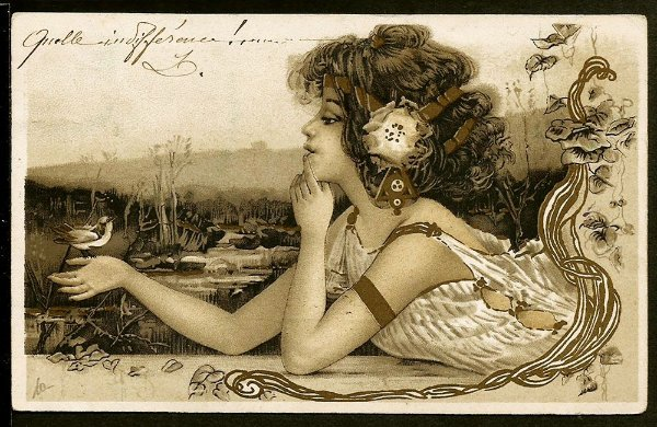 Cartão Postal Antigo Original, Ilustração Art Nouveau do Início do XX, Circulado 1905