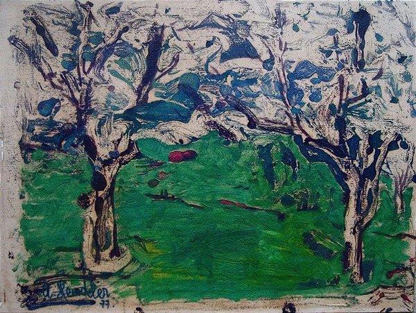 Adam Hendler - Pintura Assinada, Técnica Mista s/ Cartão, Fixado s/ Eucatex, de 1977