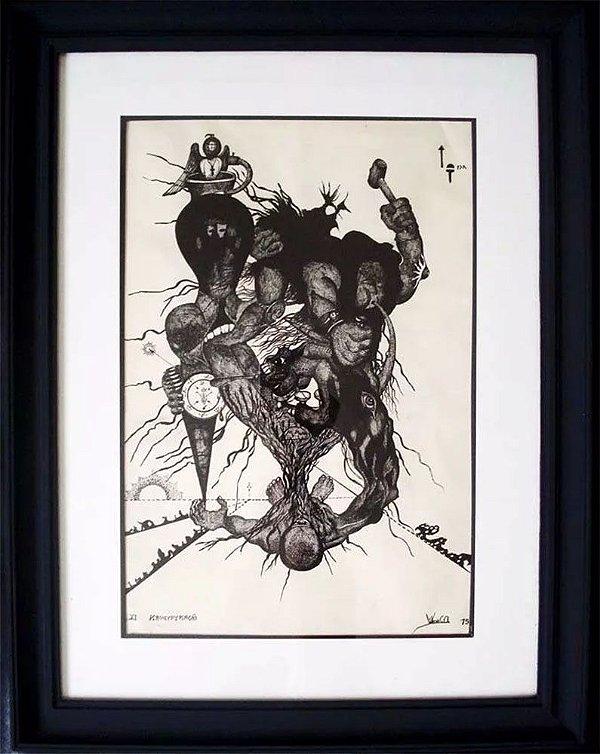 Vilma C A - Pintura Original em Nanquim s/ Papel, Krucyfykação, de 1975