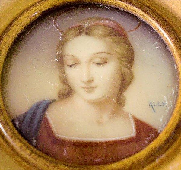 Alex - Antiga Pintura em Miniatura, Assinada, Figura de Madona, Vidro Bombê