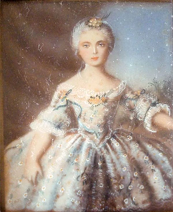 Antiga Pintura em Miniatura sobre Celuloide, Figura de Dama, Assinada, 11 x 9 cm