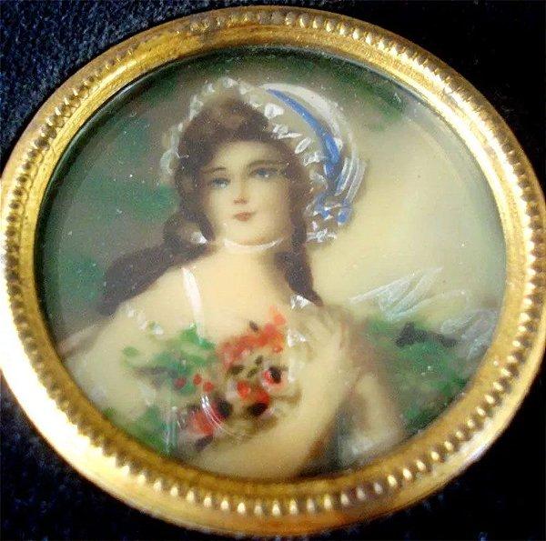 Antiga Pintura Miniatura sobre Celuloide, Figura de Dama, Vidro Bombê, 10 x 10 cm