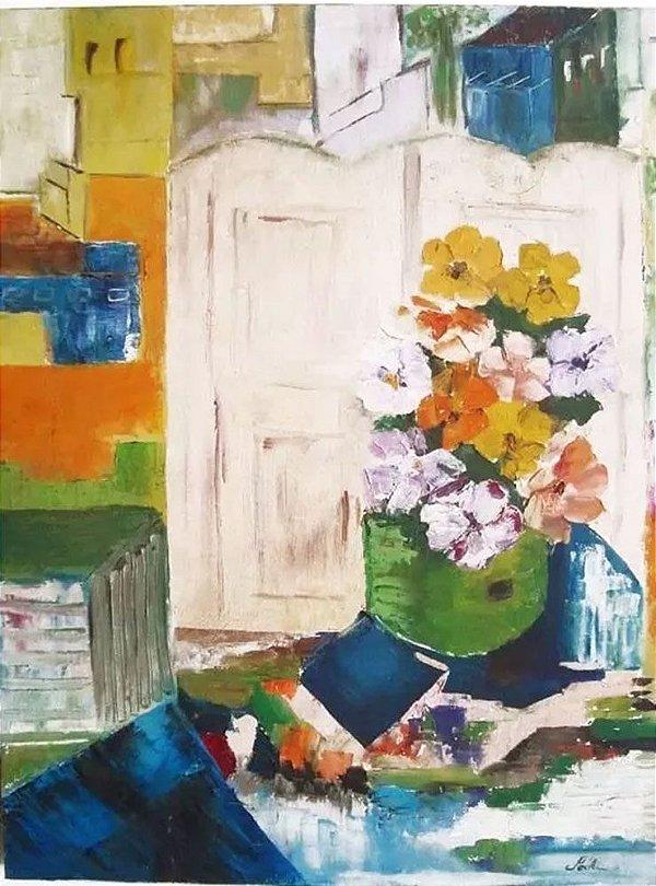 Pochi - Pintura Original Assinada, Óleo Sobre Tela, Floral