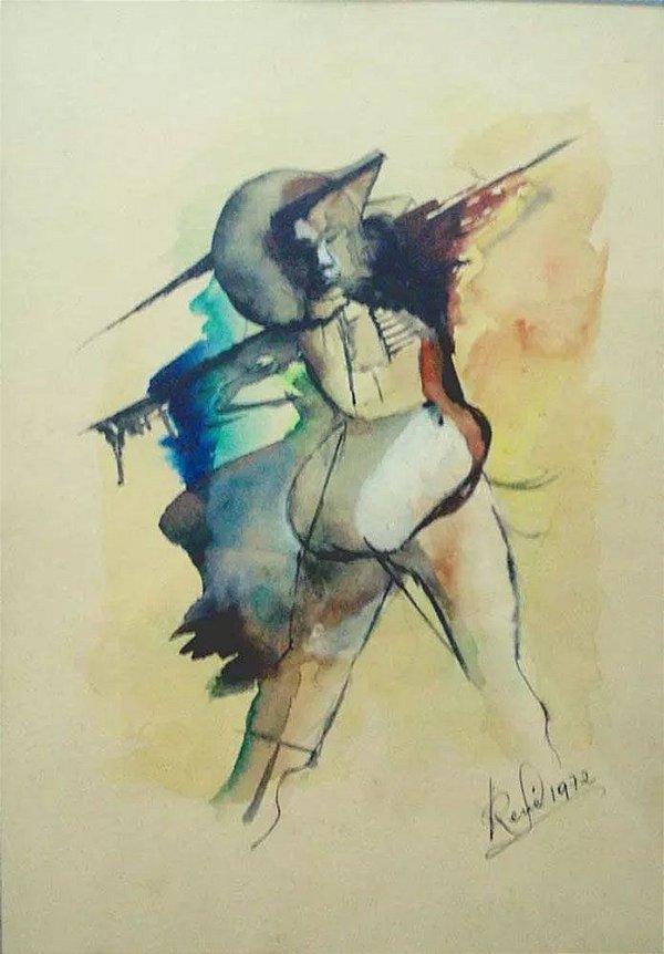 René - Quadro, Arte em Pintura, Original, Aquarela Assinada, 1972