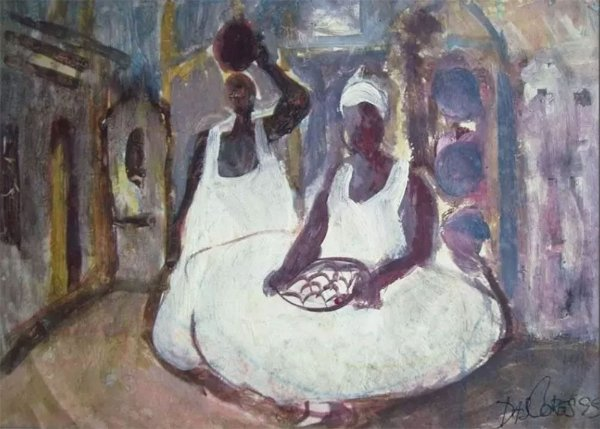 Das Cores - Quadro, Pintura Original, Assinada, Guache S/ Papel,  Bahianas, 1999