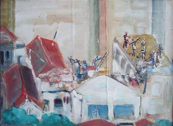 Benjamin - Quadro, Arte em Pintura, Original, Óleo S/ Eucatex, Paisagem Urbana Geométrica, Assinada