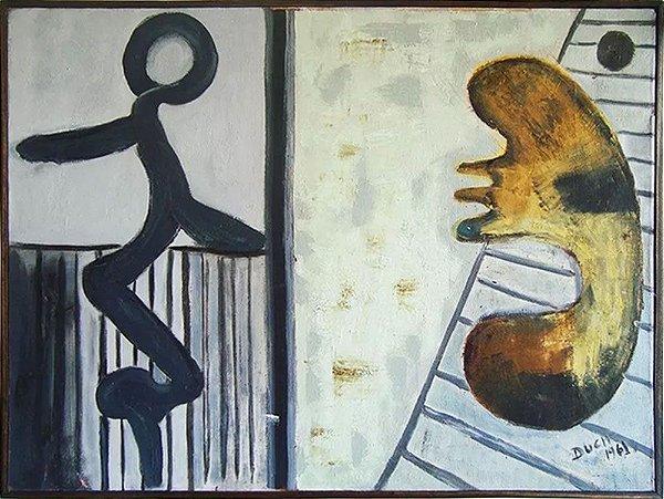 Leonhard Duch - Quadro, Arte em Pintura Óleo S/ Tela, Assinada Duch, 1961