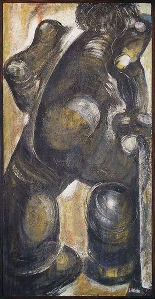 Lauda - Humanóide - Quadro, Arte em Pintura, Óleo S/ Eucatex, Assinada e Emoldurada