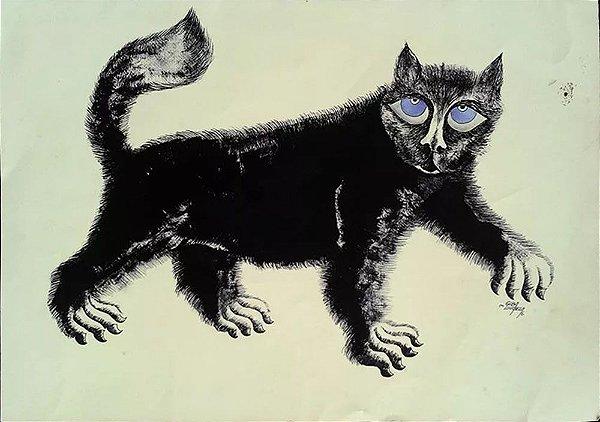 Giba Ilhabela - Quadro, Arte em Pintura, Óleo e Nanquim S/ Cartão, Assinada, 1976