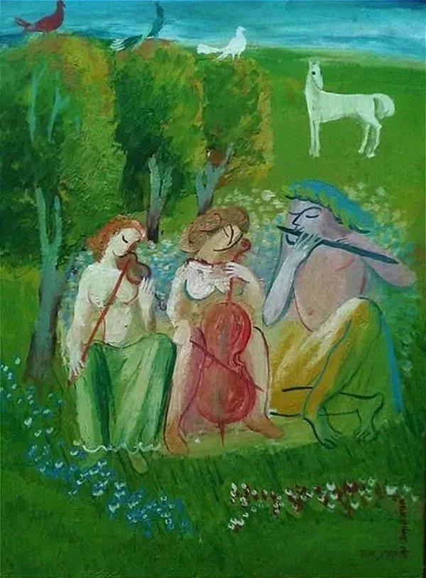 Quadro, Arte em Pintura Original, Músicos no Campo, Óleo S/ Tela, Assinado Cornea, 1975