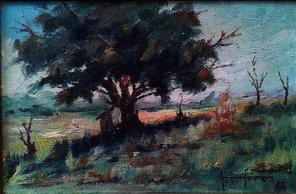 Azor Féres - Paisagem Natureza Quadro, Arte em Pintura Original, Óleo S/ Tela, Assinada, 1978