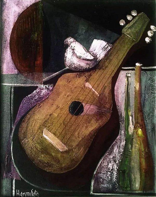 Hamito Sato - Violão - Quadro, Arte em Pintura, Óleo S/ Tela, Assinada, Emoldurada