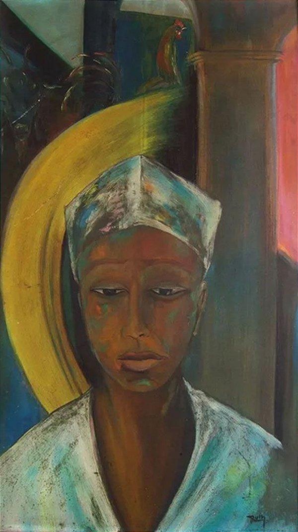 Ruth - Quadro, Arte em Pintura, Óleo S/ Eucatex, Assinada, Original, Figurativo Feminino