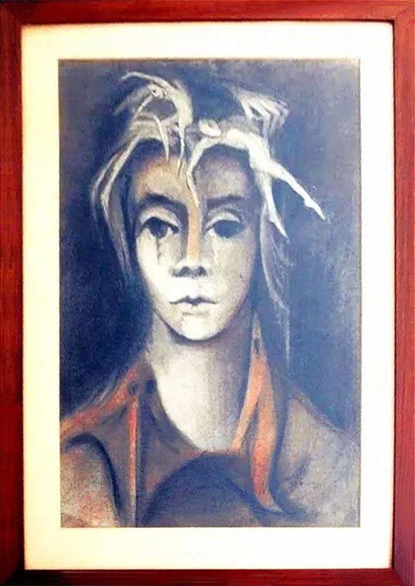 Blanca Naccarato - Quadro, Arte em Pintura, Crayon S/ Papel, Original, Assinada, 1976