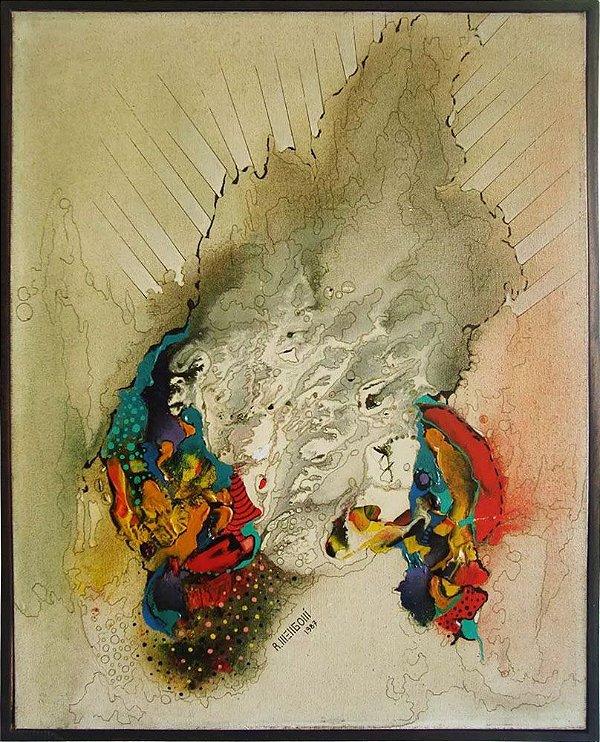 R. Mengoni - Quadro, Arte em Pintura, Óleo S/ Tela, Abstrato, Forte Relevo, 1987