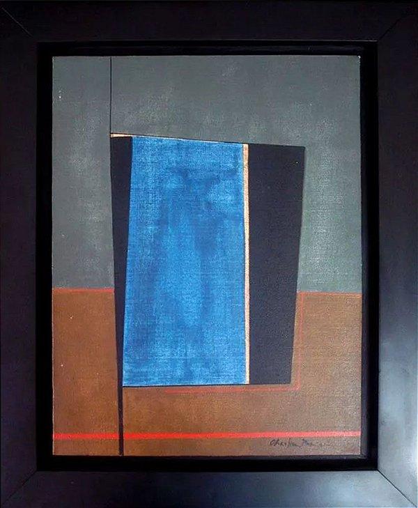 Christina Parisi - Quadro, Arte em Pintura Geométrica Óleo S/ Tela, Assinada, 1980, Emoldurada