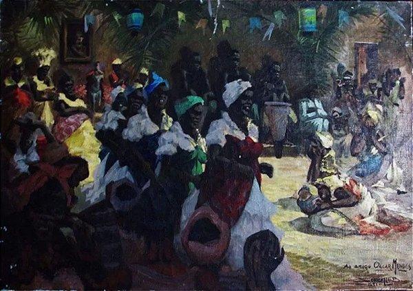 Sercelli B. - Ritual Gira de Umbanda, Quadro, Arte em Pintura OST, Assinada, 1951